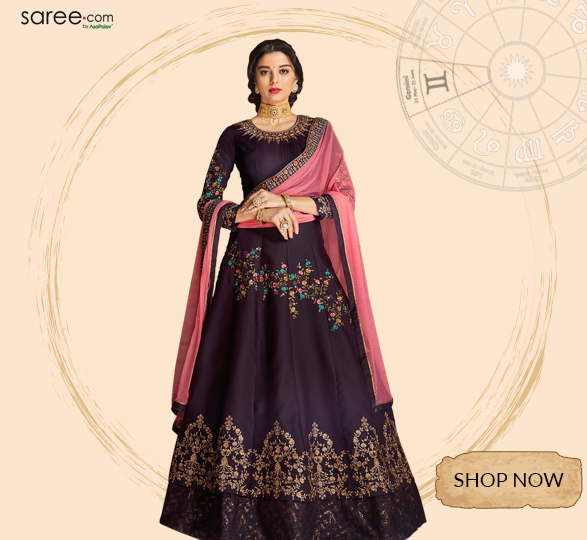 Dark Purple Georgette Designer Anarkali Suit with Zari Embroidery