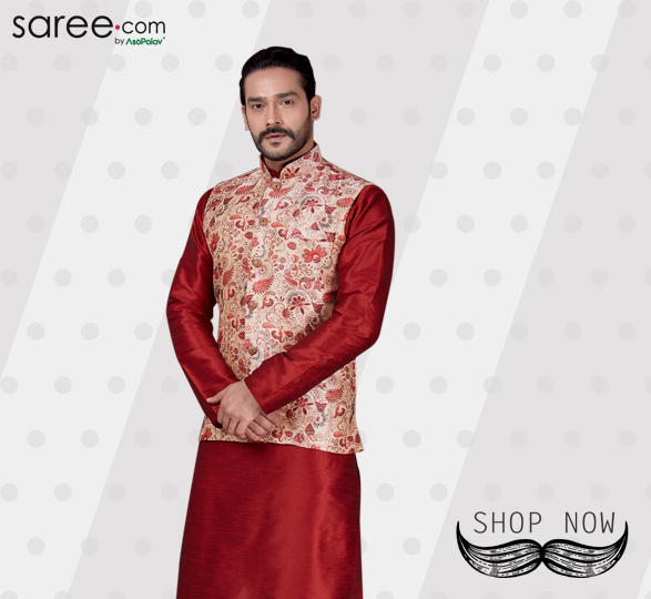 Maroon Art Dupion Kurta Pajama with Digital Printed Nehru Jacket