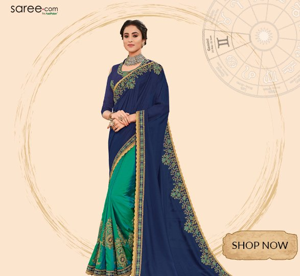 Navy Blue and Green Silk Half and Half Saree with Embroidery