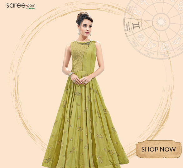 Parrot Green Silk Designer Gown with Resham Embroidery