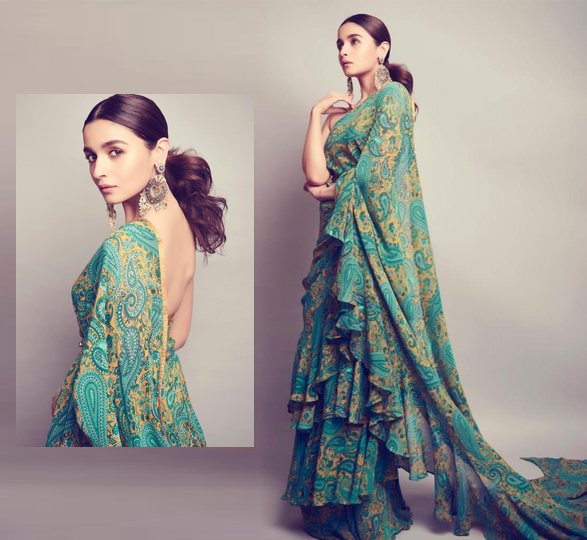 Alia Bhatt in Green Ruffle Saree
