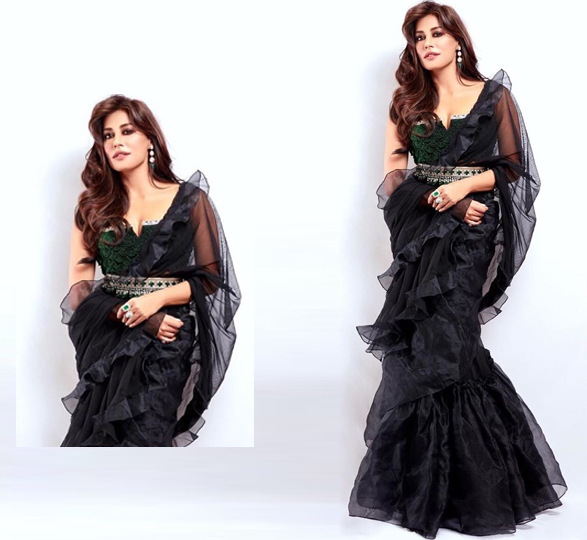 Chitrangada in Black Ruffle Saree