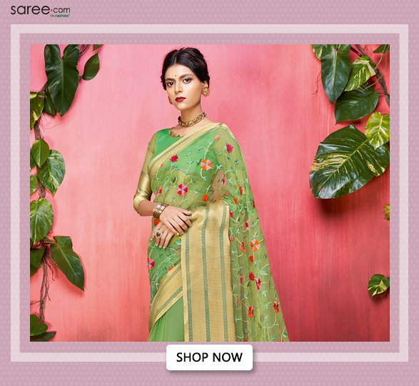 Green Organza Silk Floral Embroidered Saree