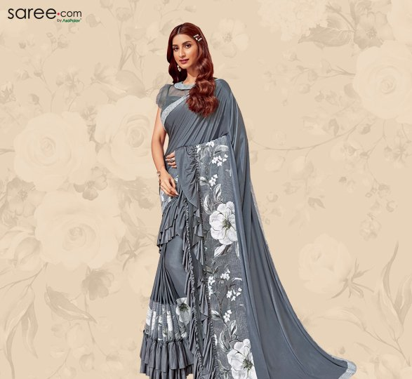 Grey Lycra Ruffle Saree with Floral Printed Net and Sequinsed Border