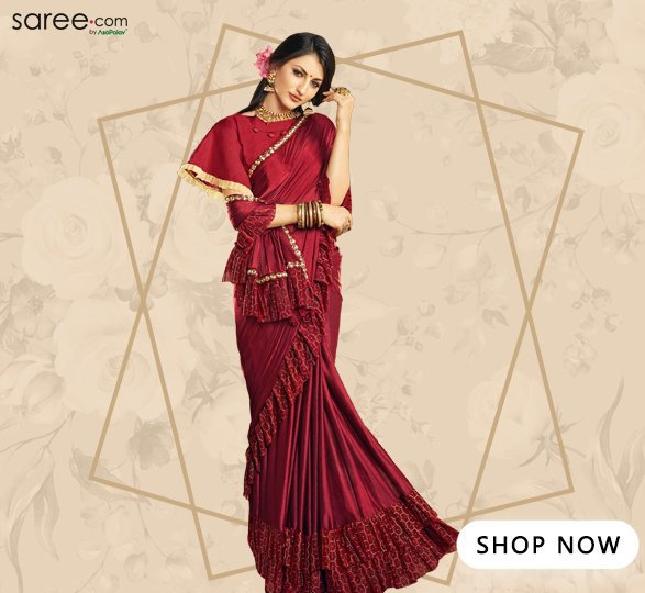 Maroon Lycra Designer Tiered Ruffle Saree with Lace