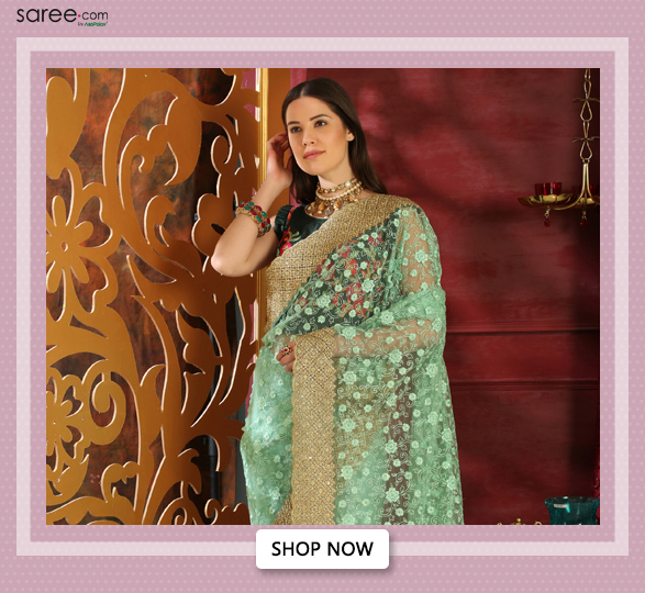 Mint Green Organza Saree with Floral Embroidery