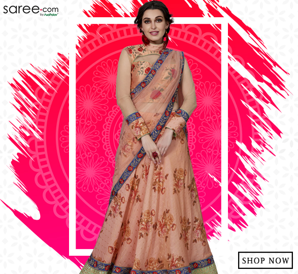 Peach Silk Designer Printed Lehenga Choli with Colored Embroidery