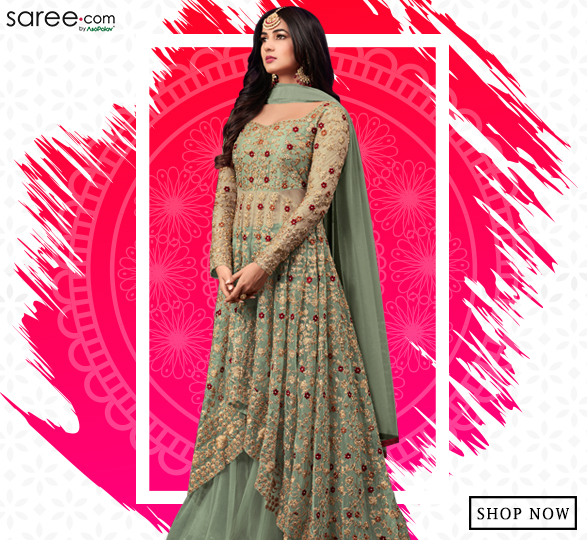 Sonal Chauhan Green Net High Low Style Indo Western Suit