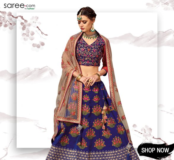 Blue Silk Designer Lehenga Choli with Zari Embroidery