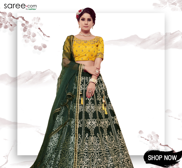 Dark Green Silk Lehenga Choli with Emboss Print