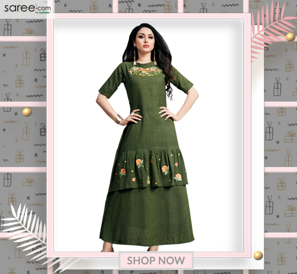 Green Khadi Silk Long Kurti with Thread Embroidery