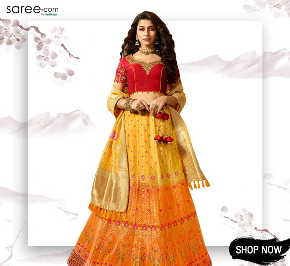 Light Orange and Yellow Banarasi Silk Lehenga Choli with Multi Colored Floral Weaving
