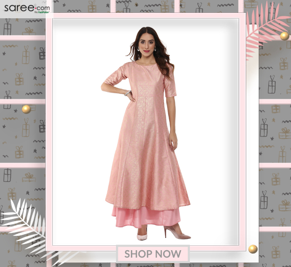 Light Pink Poly Silk Anarkali Kurti with Foil Print