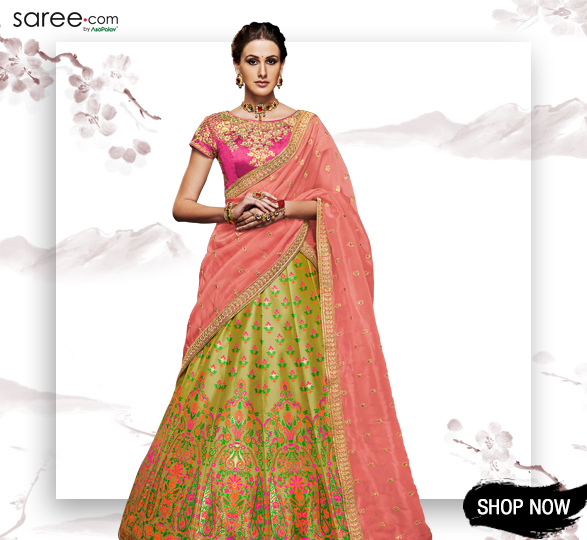 Olive Green Brocade Designer Lehenga Choli With Multi Colored Thread Weaving