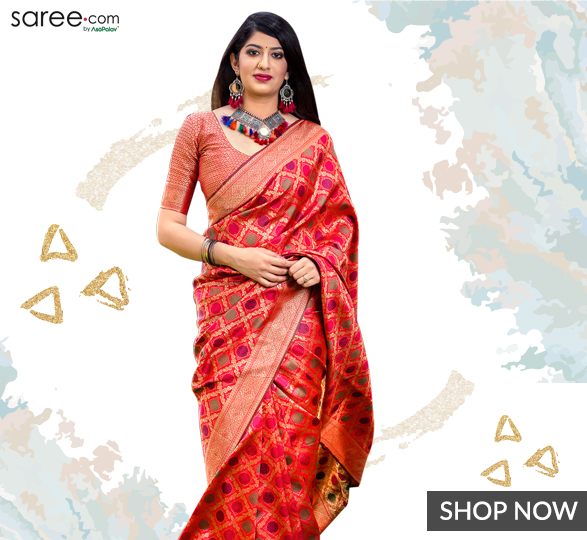 Red Banarasi Silk Saree with Multi Colored Weaving