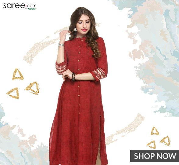 Red Cotton Straight Cut Kurti