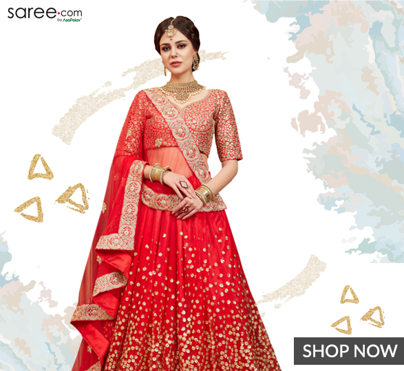 Red Net Designer Lehenga Choli with Sequins Work