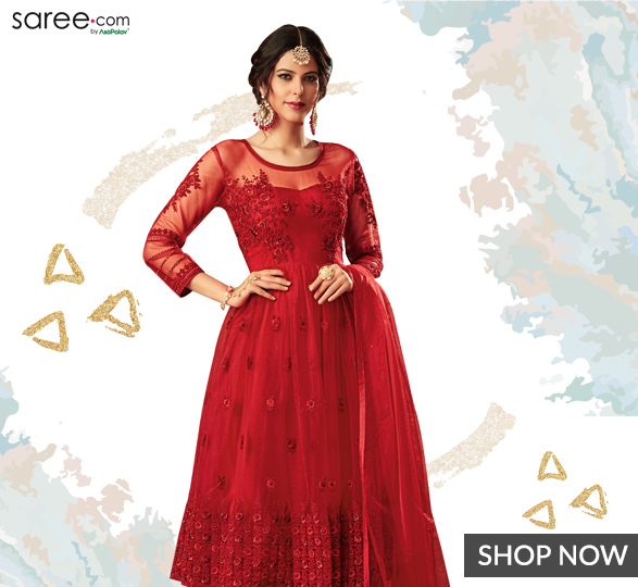 Red Net Designer Suit with Resham Embroidery