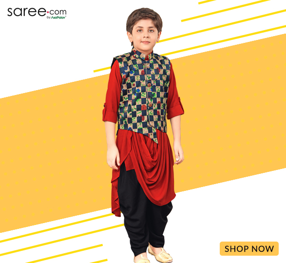 Red Rayon Cowl Drape Dhoti Kurta Set with Digital Printed Nehru Jacket
