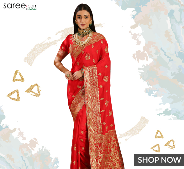 Red Silk Embroidered Saree with Tassels