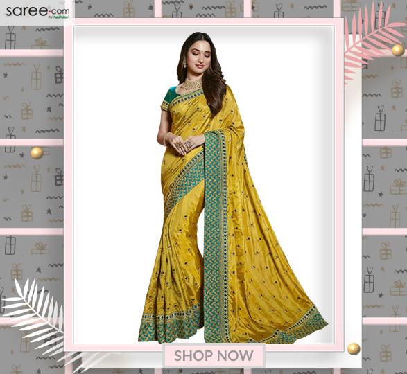 Tamannaah Bhatia Yellow Silk Saree with Zari Embroidery