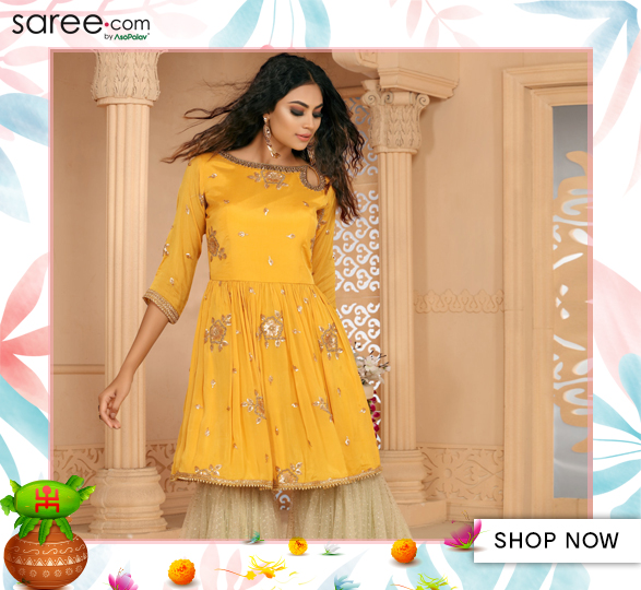 Yellow Chinon Sharara Suit with Sequins Work