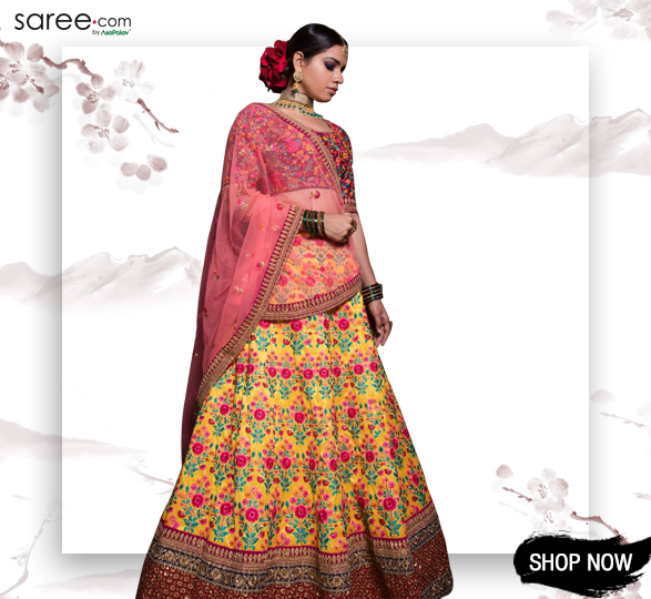 Yellow Mulberry Silk Designer Lehenga Choli with Multi Colored Floral Embroidery