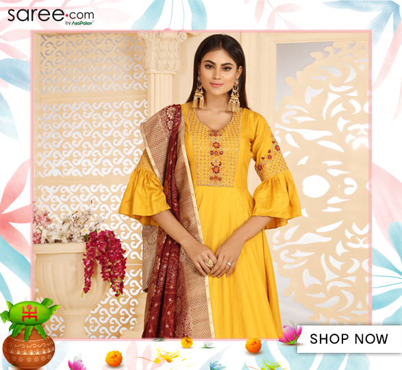 Yellow Silk Anarkali Suit with Resham Embroidery