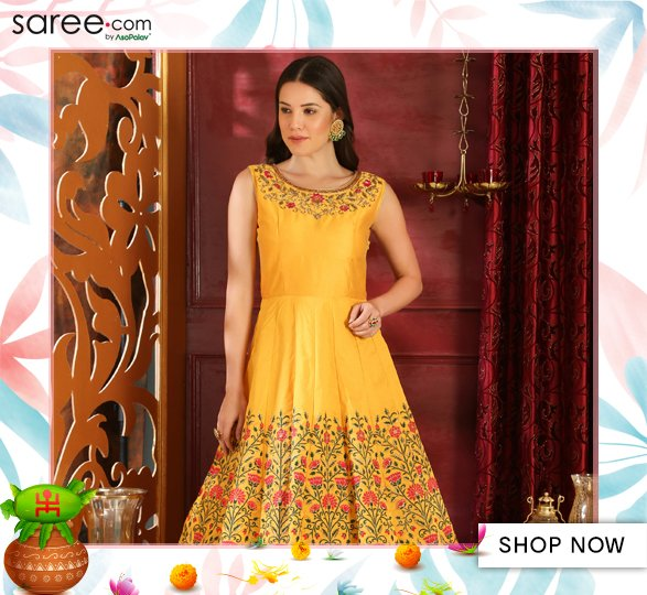 Yellow Silk Designer Gown with Floral Resham Embroidery