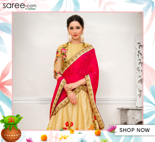 Yellow and Beige Banarasi Silk Mughal Art Inspired Digital Printed Lehenga Choli with Stone Work