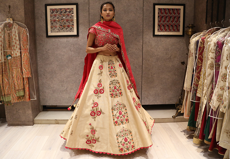 Cream and Pink Embroidered Lehenga Choli