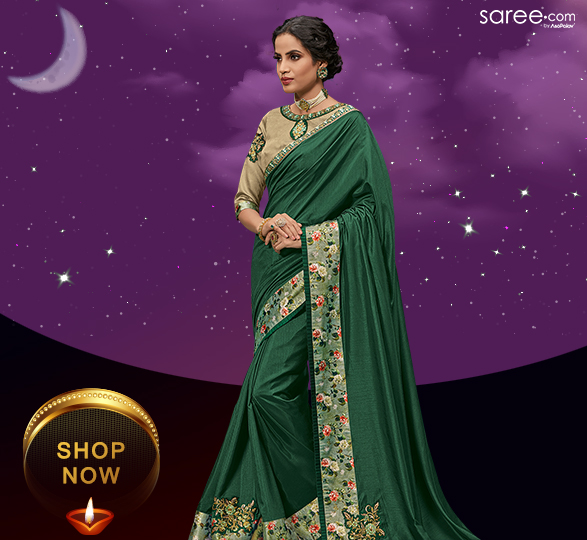 Dark Green Art Silk Plain Saree with Frill and Floral Printed Border