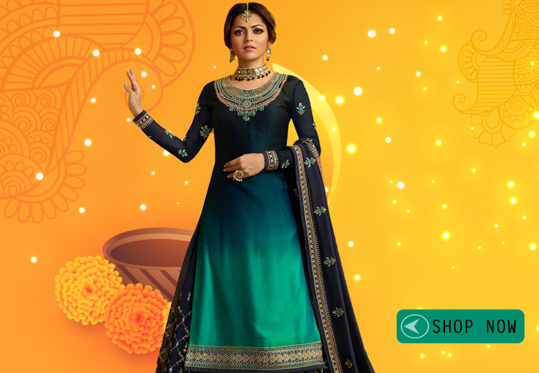 Drashti Dhami Blue and Green Ombre Satin Georgette Designer Embroidered Lehenga Suit