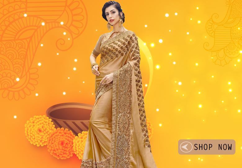 Golden Art Silk Embroidered Saree with Lace