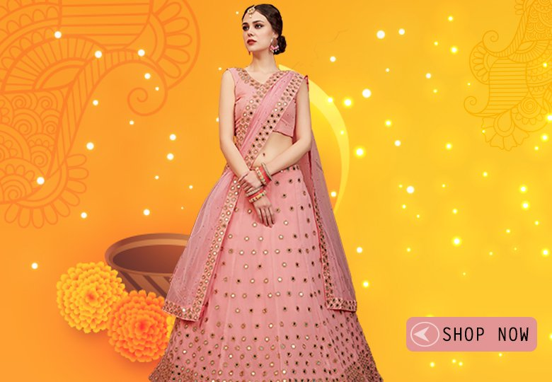 Light Pink Georgette Designer Lehenga Choli with Mirror Work