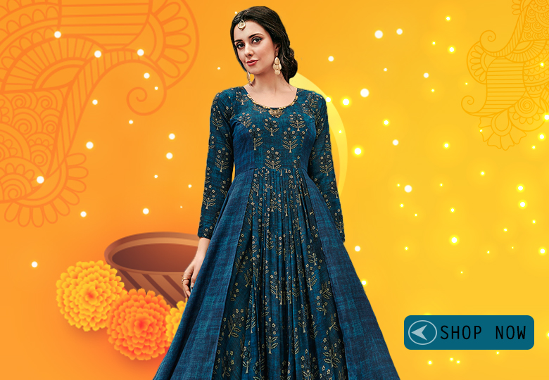 Prussian Blue Georgette Printed Fancy Layered Anarkali Kurti