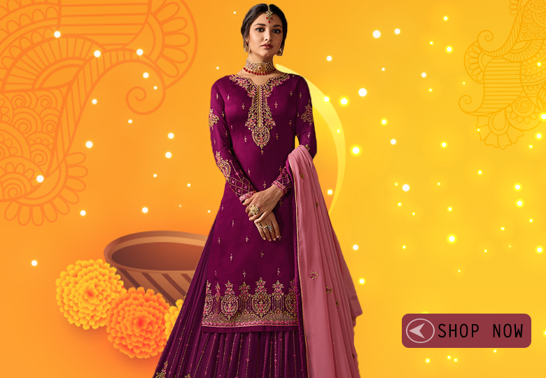 Wine Purple Satin Georgette Designer Embroidered Straight Cut Suit with Stone Work