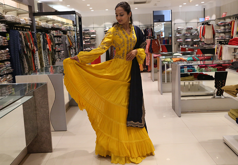 Yellow Frilled Anarkali Suit