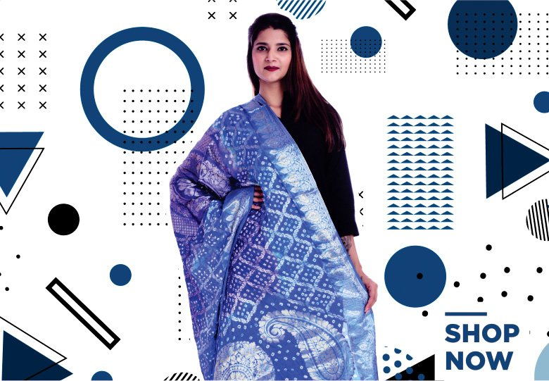 Blue Banarasi Silk Traditional Dupatta with Bandhej Print