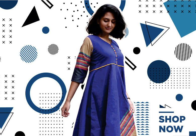 Blue Cotton Printed Short Kurti