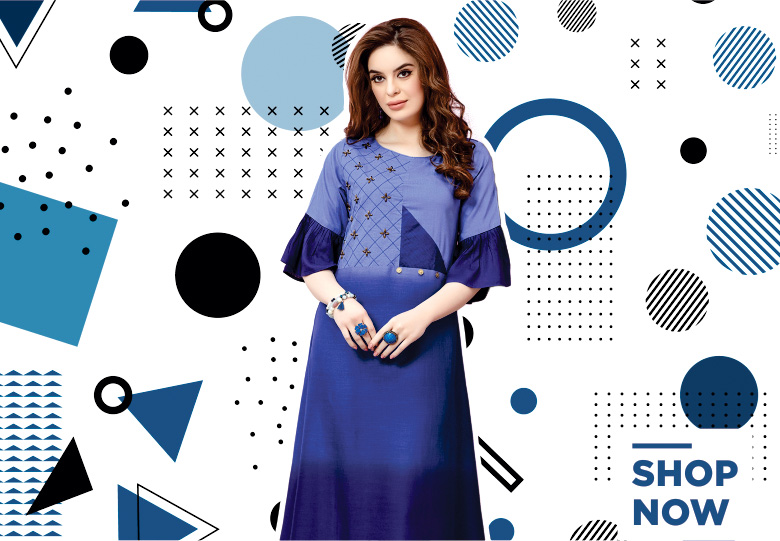 Blue Ombre Rayon Handworked Long Kurti with Bell Sleeves