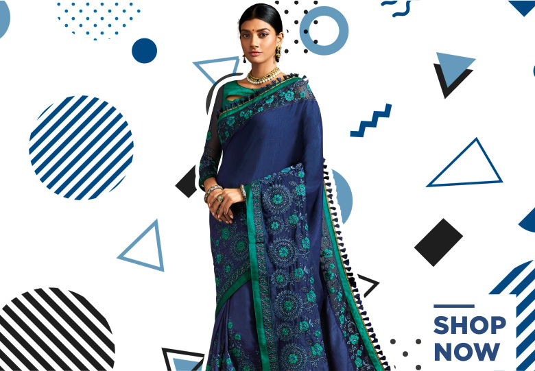 Blue Silk Designer Saree with Floral Embroidery and Tasseled Border