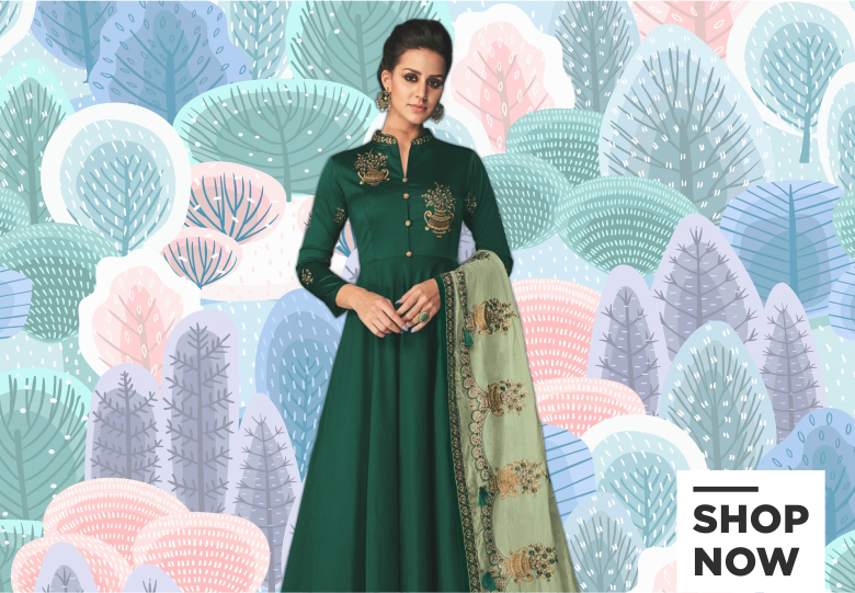 Dark Green Soft Silk Anarkali Suit with Emboidered Dupatta