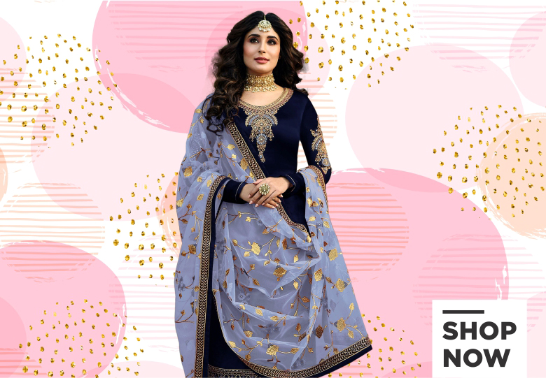 Kritika Kamra Navy Blue Satin Georgette Straight Cut Embroidered Suit