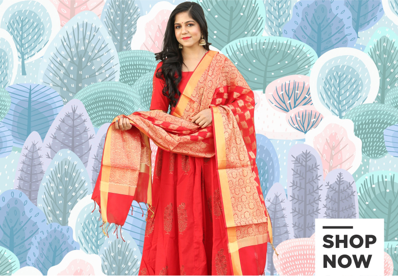 Red Cotton Khadi Printed Palazzo Suit with Banarasi Dupatta