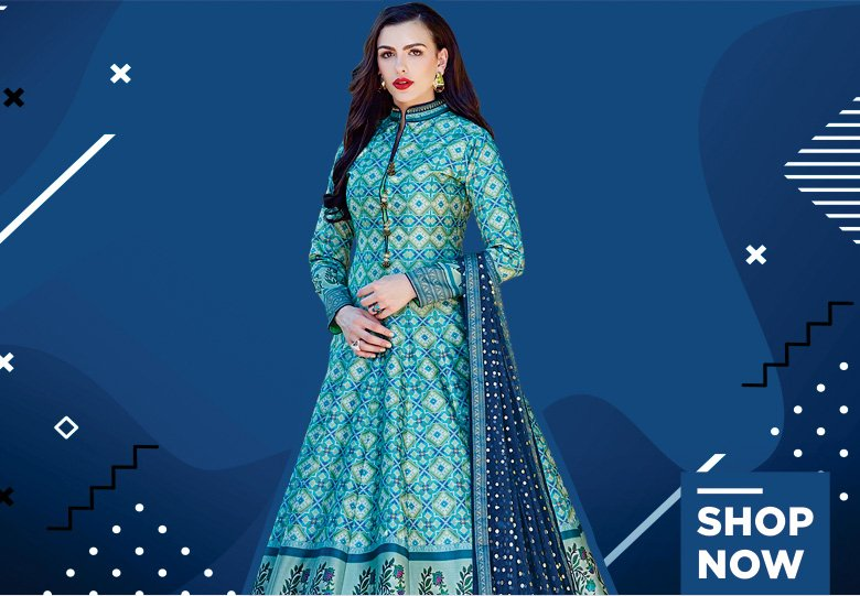 Sky Blue Silk Designer Anarkali Suit with Patola Print
