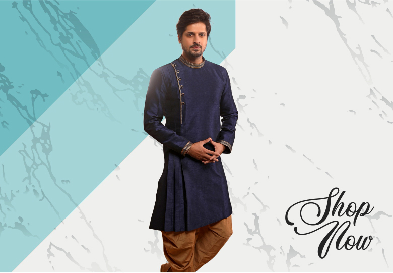 Blue Banarasi Art Silk Sherwani with Dhoti