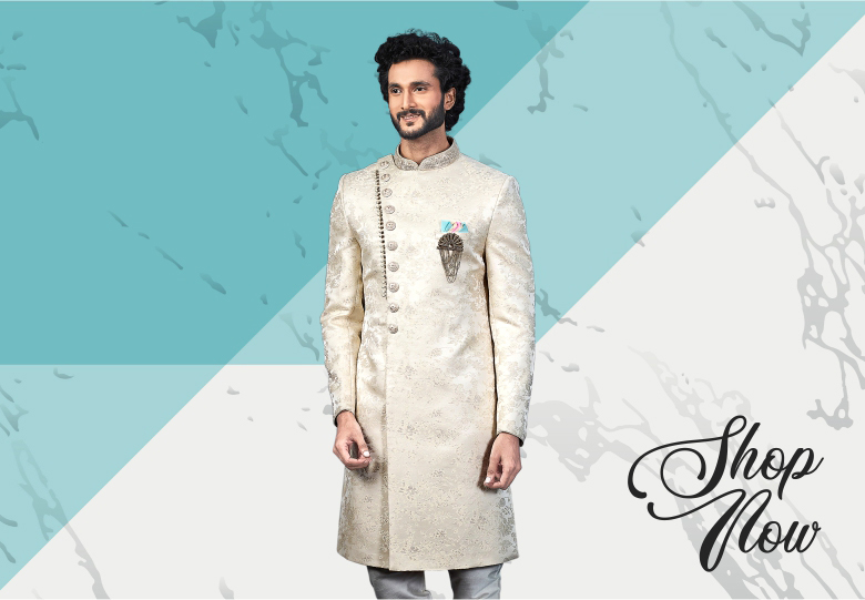 Cream Jacquard Silk Handworked Sherwani
