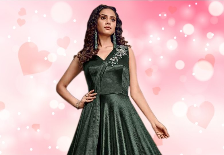 Dark Green Satin Handworked Designer Floor Length Gown