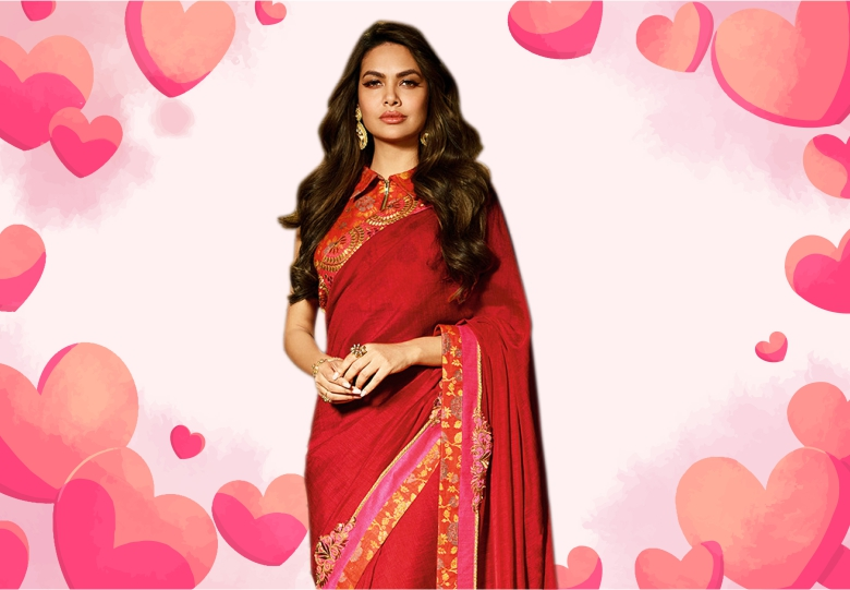 Esha Gupta Red Georgette Saree with Embroidery Lace